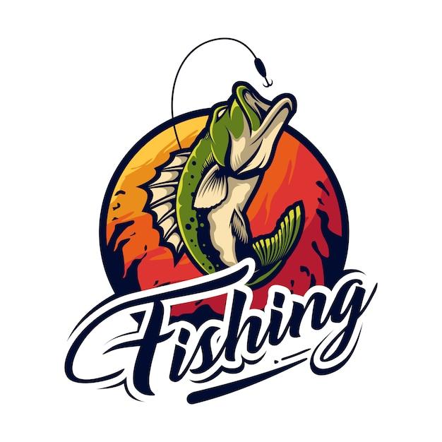 Дизайн логотипа рыбалки Premium векторы