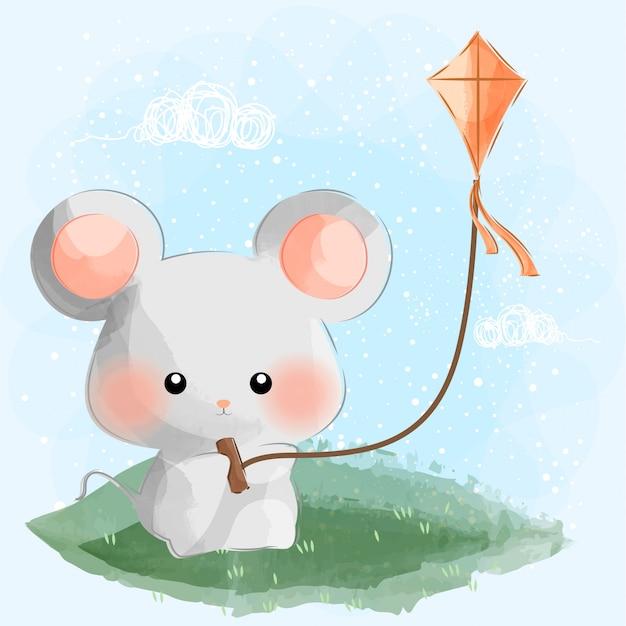Милая маленькая мышь играет змея Premium векторы