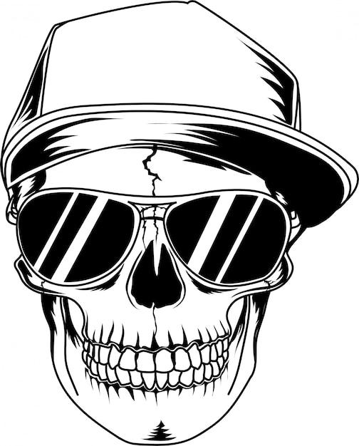Череп с черными очками и классной шляпой Premium векторы