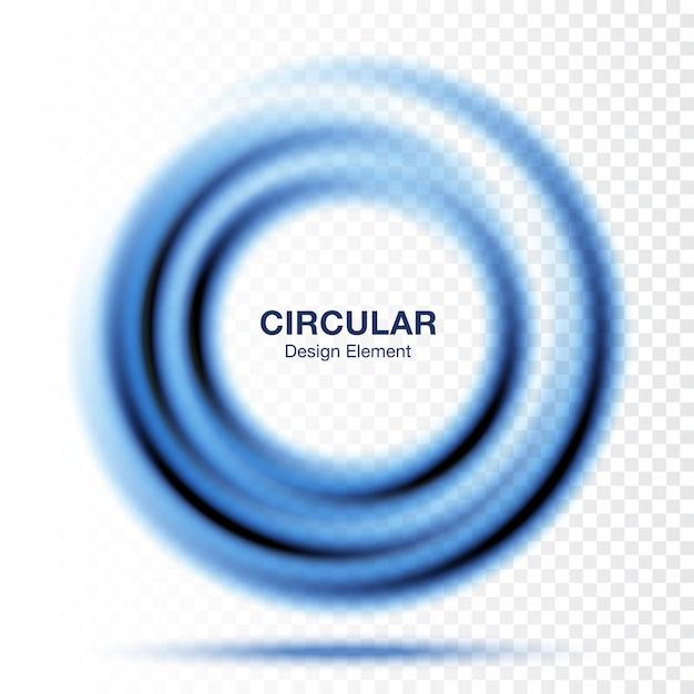 渦グラデーションラウンド、テキストプレゼンテーションレイアウト。分離された抽象的な青い旋回サークルフレーム Premiumベクター