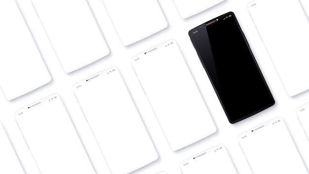 Ряды мобильных телефонов расположены под углом к точке зрения. набор воображаемых смартфонов. черный сотовый телефон выглядит особенным среди обычных белых устройств. угловой вид сверху Premium векторы