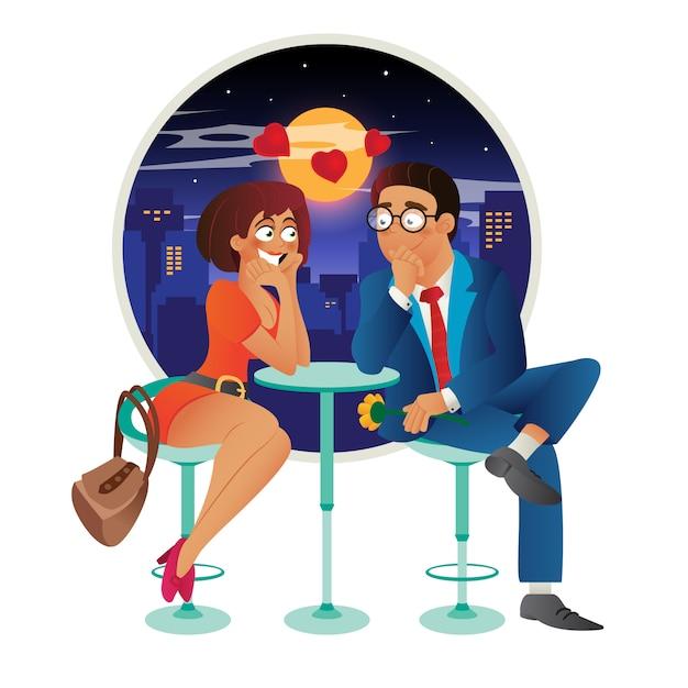 カフェ-デート、話、会議、浮気、恋に落ちる若いビジネスの女性と男性のカップルでロマンチックな愛のイベントをデートします。 Premiumベクター