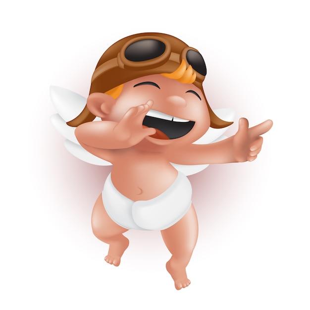 おむつ、ヘルメット、パイロットグラスで面白い小さな赤ちゃんキューピッド、指を指して、笑っています。かわいい天使のキャラクター Premiumベクター