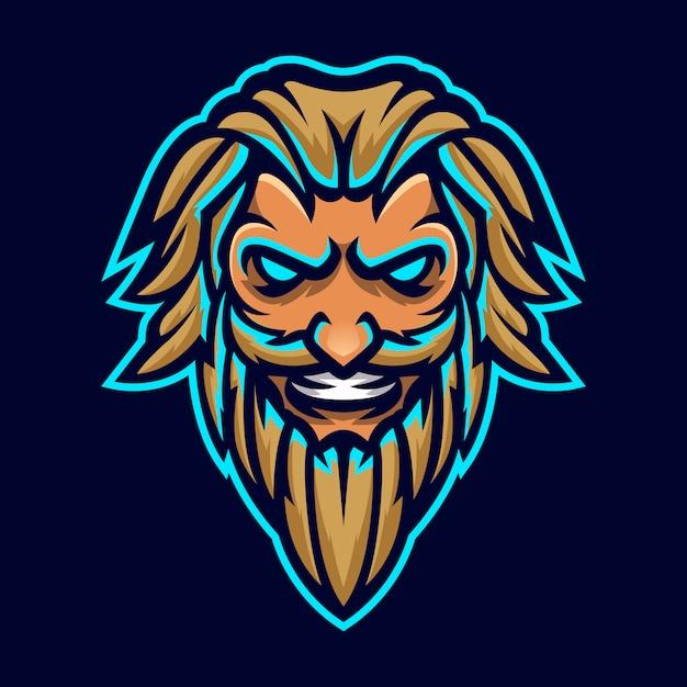 Зевс тандерболт бог талисман головы логотип шаблонов Premium векторы