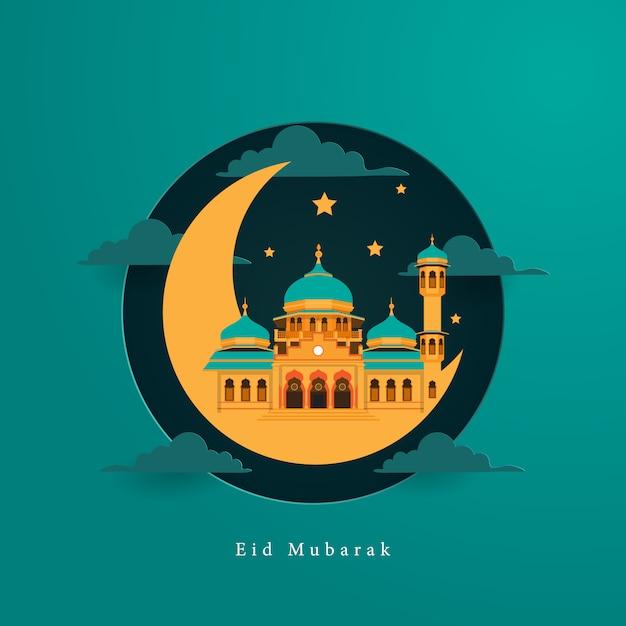 ペーパーアートスタイルのモスクとイードムバラクカード挨拶 Premiumベクター