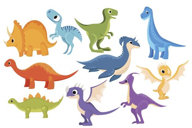 恐竜セット。漫画の恐竜のコレクション。子供のための先史時代の動物のイラスト。 Premiumベクター