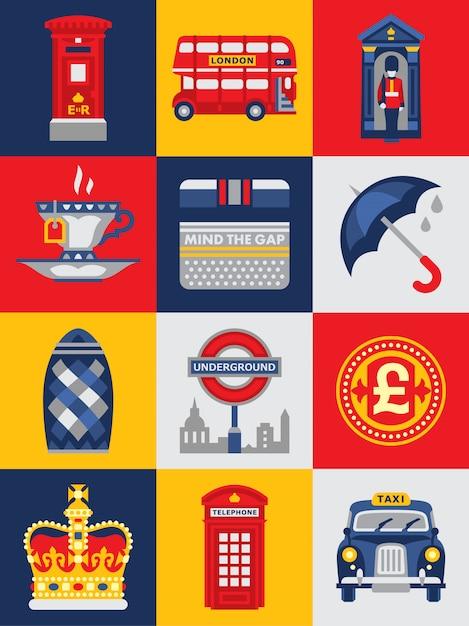 Плоский стиль плакат с лондонскими символами и достопримечательностями. Premium векторы