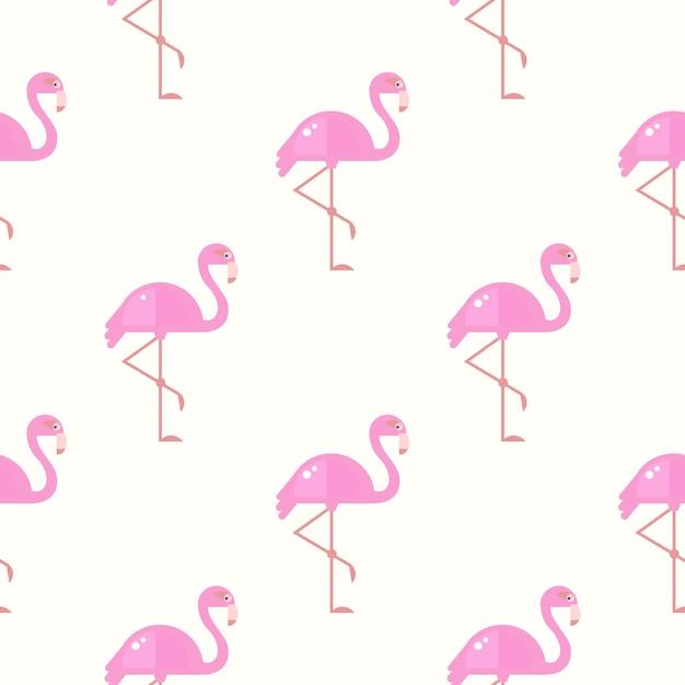 フラミンゴ鳥の背景。ベクトルのレトロなシームレスパターン Premiumベクター