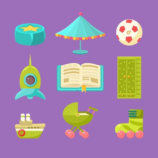 Набор предметов детской комнаты Premium векторы