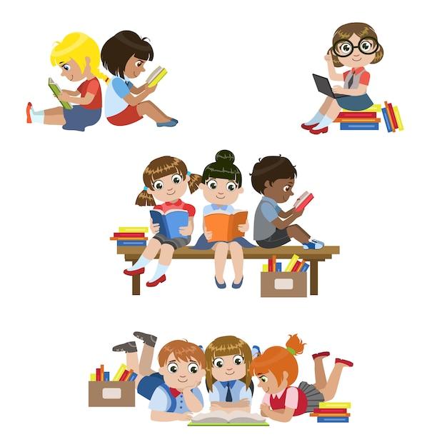 Детский набор книг для чтения Premium векторы