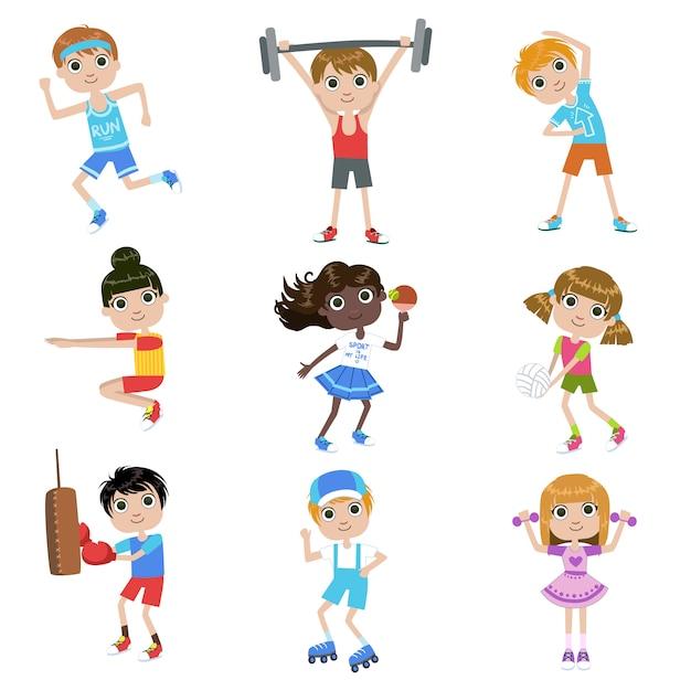 スポーツセットをしている子供 Premiumベクター