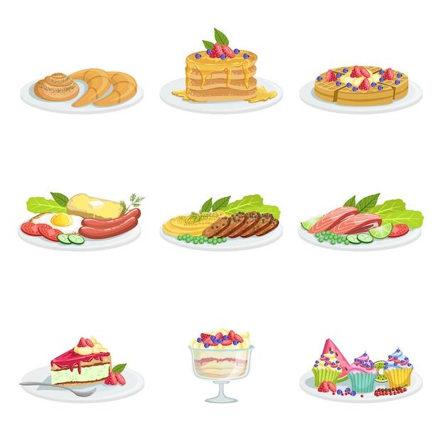 Европейская кухня ассортимент продуктов питания пункты меню подробные иллюстрации Premium векторы