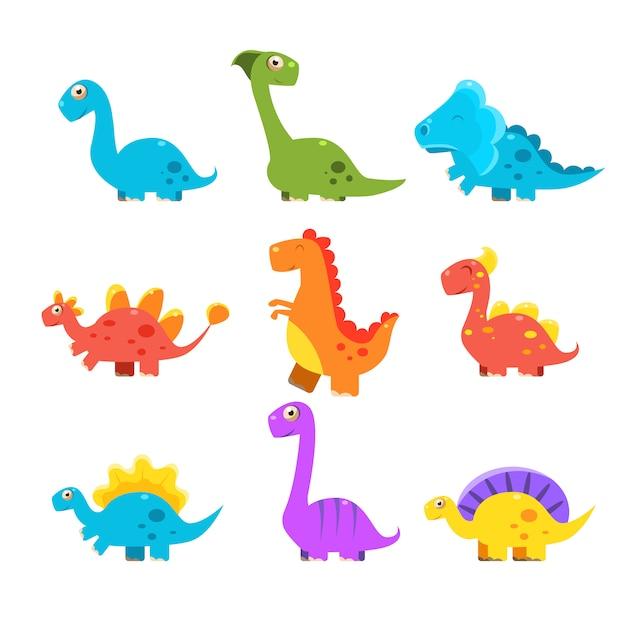 小さなカラフルな恐竜セット。かわいいコレクション Premiumベクター