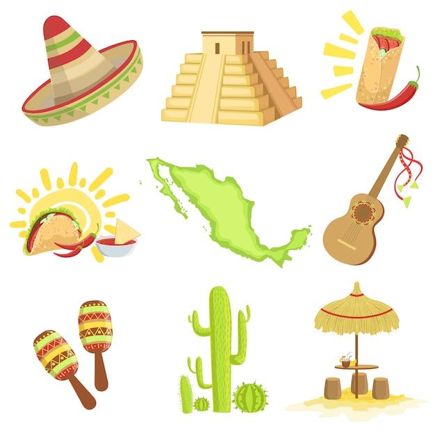 メキシコ文化のシンボルセット Premiumベクター