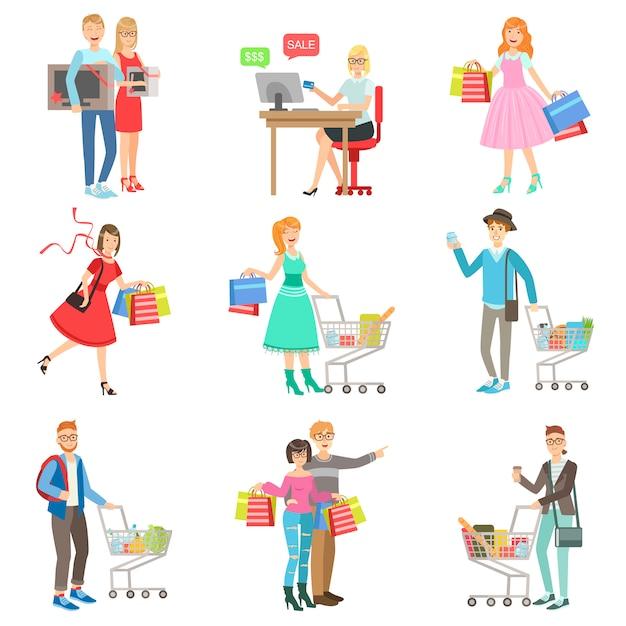 Люди, делающие покупки для одежды и бакалеи Premium векторы