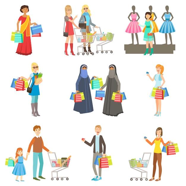 Разные люди в торговом центре Premium векторы