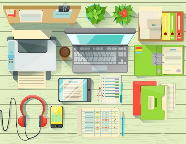 Современный офисный стол элементы набора вид сверху Premium векторы