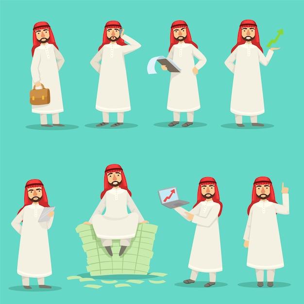 Арабский бизнесмен в традиционной одежде в различные моменты работы установлен Premium векторы
