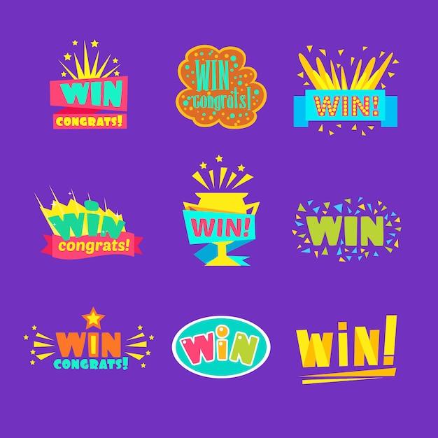Выиграйте поздравления стикеры ассортимент комических дизайнов для видеоигр победный финал Premium векторы