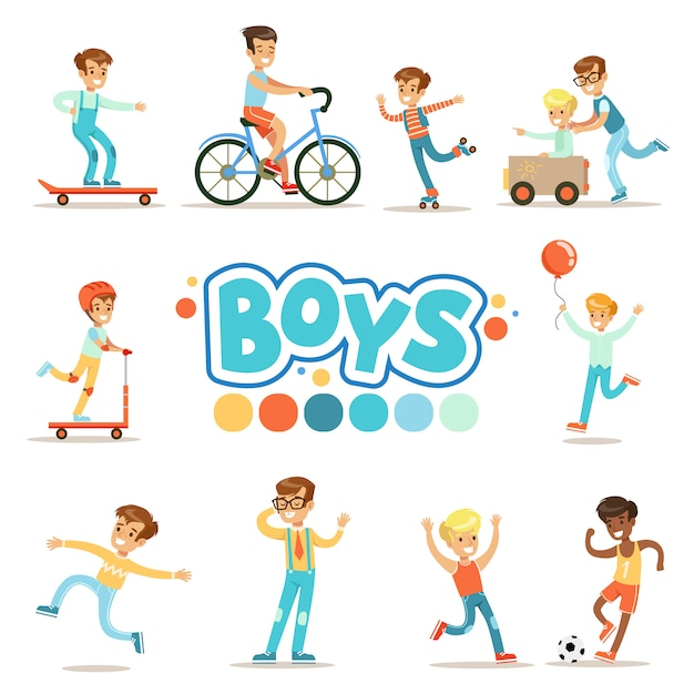 Счастливые мальчики и их ожидаемое классическое поведение с активными играми спортивные практики набор традиционных мужских ролевых иллюстраций Premium векторы