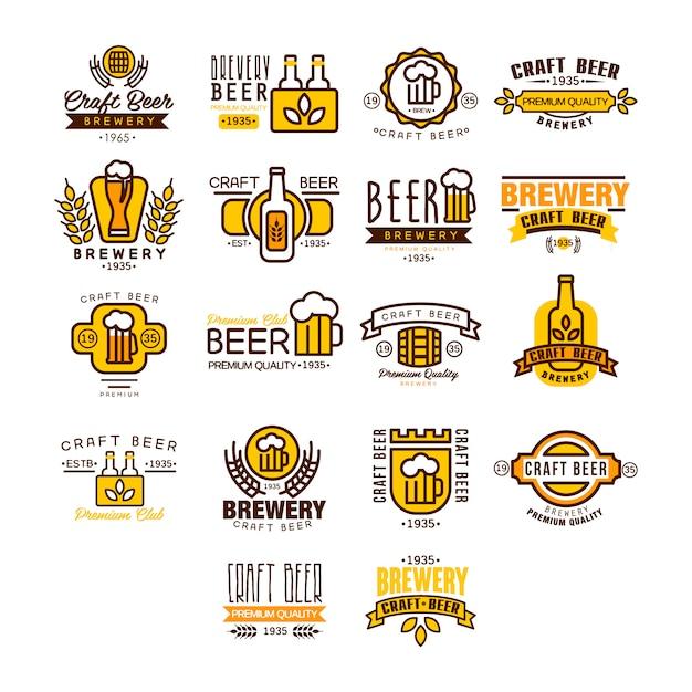 Логотип и этикетки пива Premium векторы