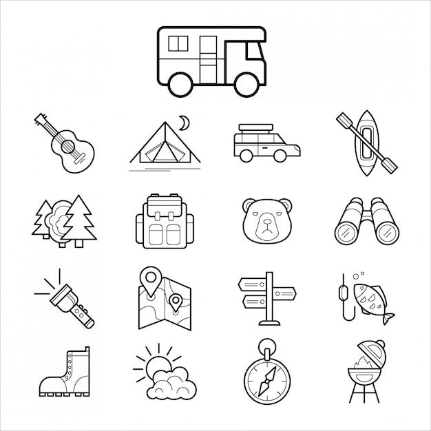 Большой набор линейных иконок для кемпинга и туризма Premium векторы