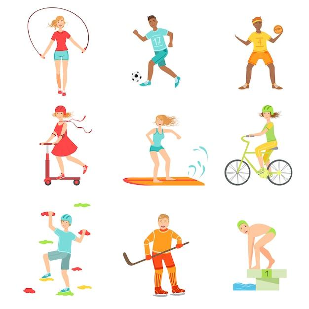 Люди, наслаждающиеся иллюстрациями физической активности Premium векторы