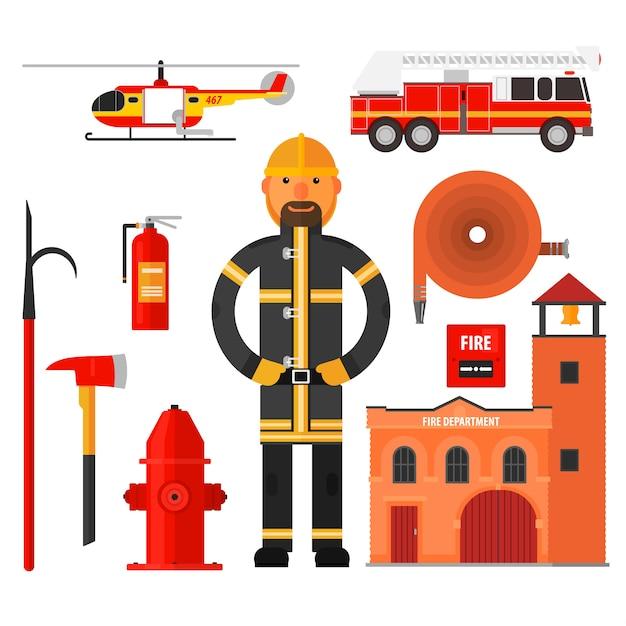 消防キャラクターとフラットスタイルの要素。 Premiumベクター