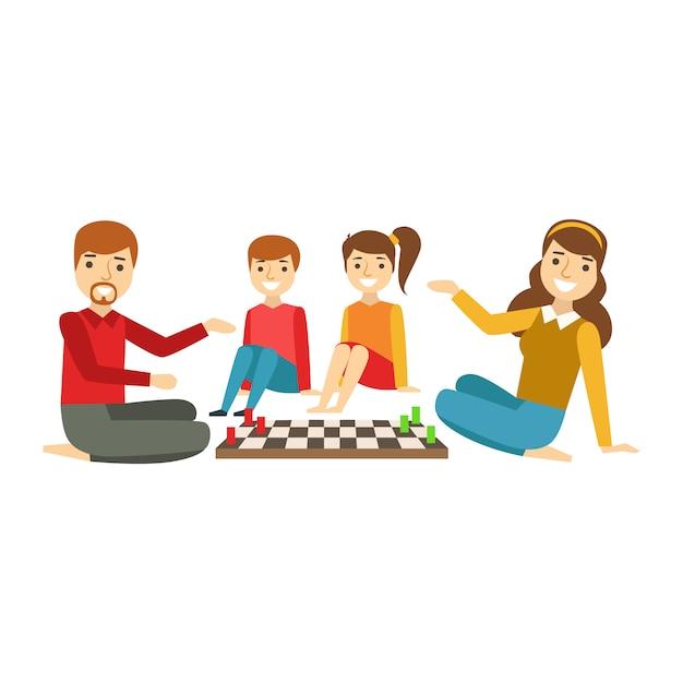 親と子がチェスをしている、イラストを一緒に楽しんで幸せな家族 Premiumベクター