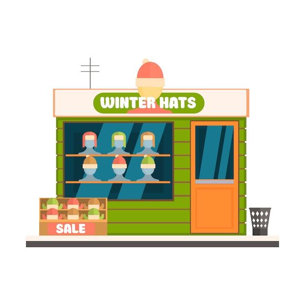 冬の帽子ストアフロント Premiumベクター