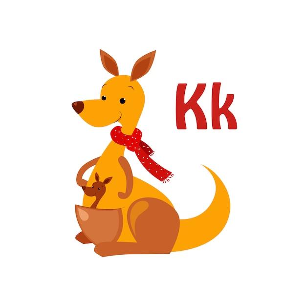 カンガルー。面白いアルファベット、動物 Premiumベクター