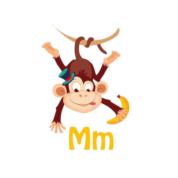 Обезьяна. забавный алфавит, животное Premium векторы