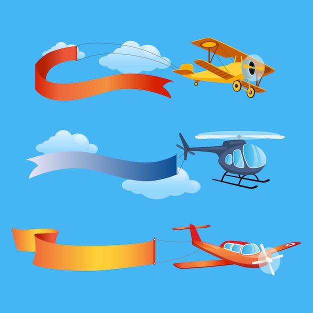 空の背景にテキストの長いバナーで飛行機が飛ぶ Premiumベクター
