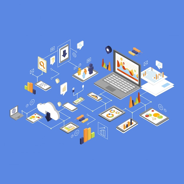 データストレージとテクノロジー等尺性 Premiumベクター