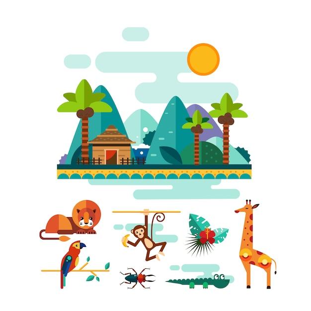 熱帯動物、昆虫、ジャングルのイラストセットの鳥 Premiumベクター