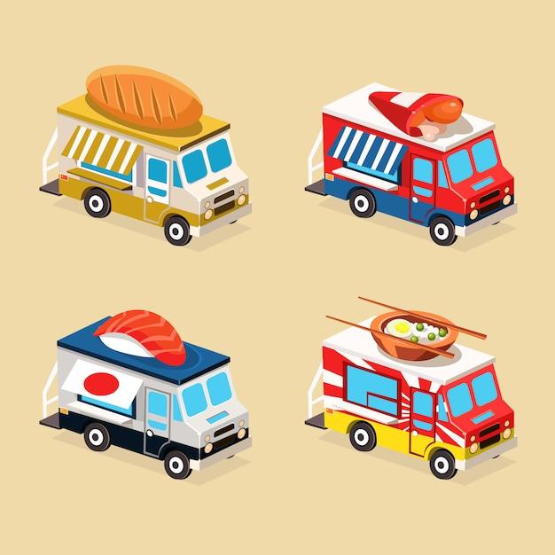 Продовольственный грузовик плоский набор иллюстрации Premium векторы