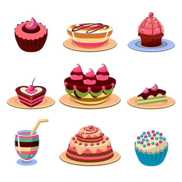 明るいケーキとデザートアイコンセットベクトル図 Premiumベクター