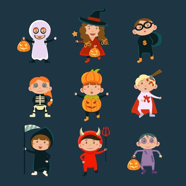 ハロウィーンの衣装イラストを着た子供たち Premiumベクター