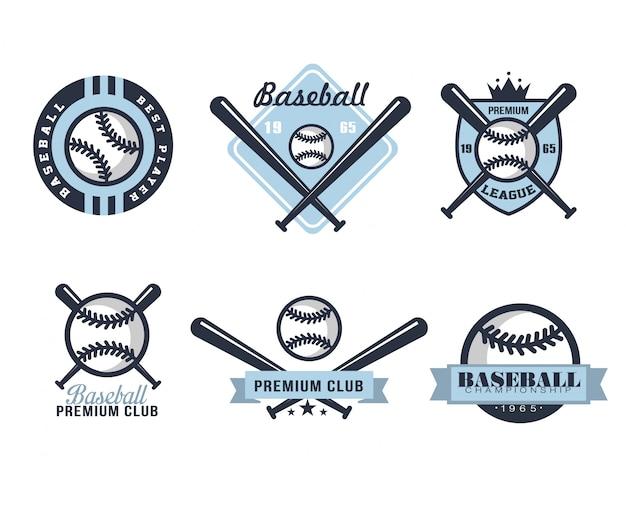 Бейсбольные эмблемы или значки с различными дизайнами Premium векторы