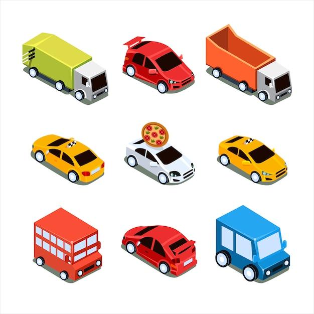 Изометрические городской транспортный набор Premium векторы