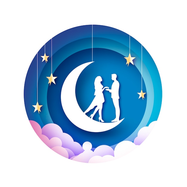 月の切り絵の図に白いロマンチックな恋人 Premiumベクター
