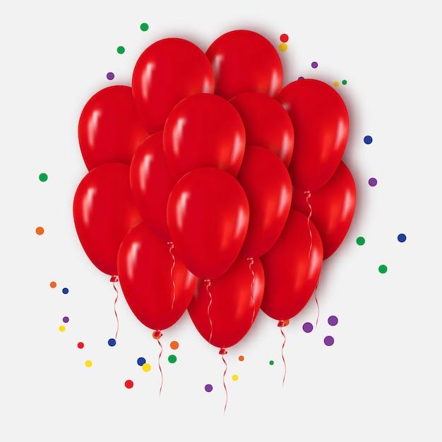 Реалистичные красный букет из шаров для вечеринки, торжества, с днем рождения. Premium векторы