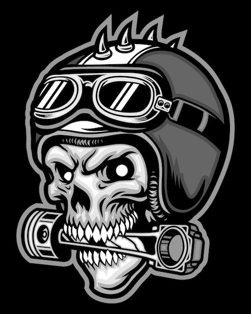 Череп наездник и мотоциклетный шлем Premium векторы