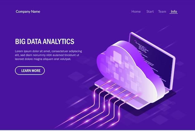 Аналитика больших данных. облачные вычисления. потоковая передача данных Premium векторы