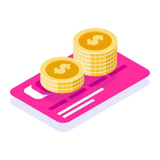 Экономьте деньги в банке. стопка монет на фоне банковской карты Premium векторы
