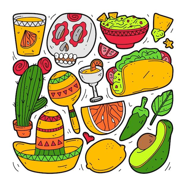 メキシコ要素のコレクションセットを落書き。シンコデマヨ Premiumベクター