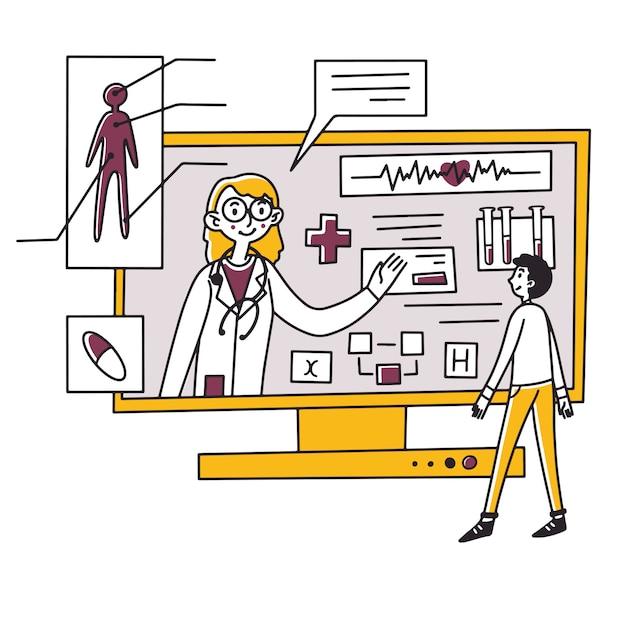 Человек получает медицинскую консультацию онлайн Premium векторы