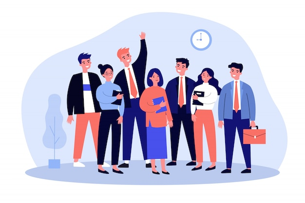 Счастливый бизнес коллег команды портрет Premium векторы