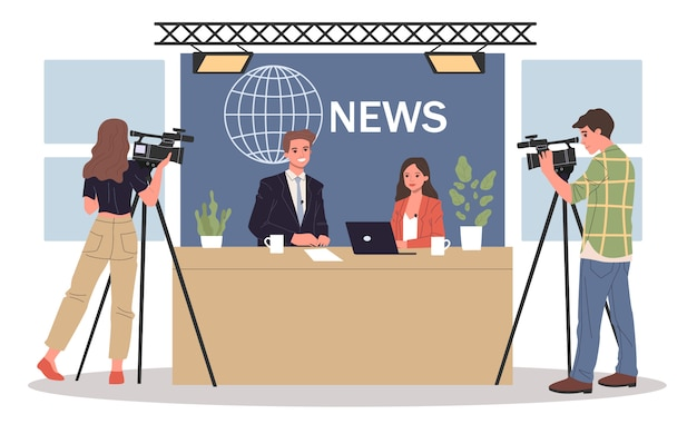 Пара новостных якорей Premium векторы