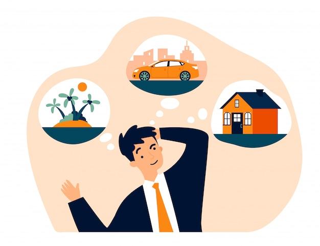 新しい家、車、旅行を考える若い男 Premiumベクター